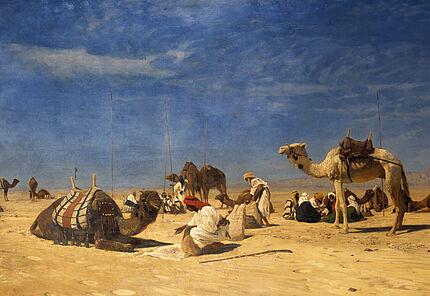 Eugen Bracht, Rast in der Wüste (Peträisches Arabien), 1882, GDKE Rheinland-Pfalz, Landesmuseum Mainz, Foto: Ursula Rudischer