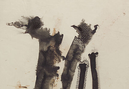 Leo Grewenig, Baumgruppe, 1959, Tuschzeichnung, 538 : 370 mm, Foto: Wolfgang Fuhrmannek, HLMD © Werke - Nachlass Leo Grewenig GbR