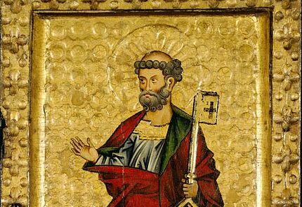 Wormser Tafeln (Detail), Heiliger Petrus auf dem rechten Flügel innen, Mittelrhein, 1260