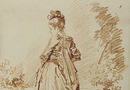 Jean-Honoré Fragonard, Junge Frau, vom Rücken gesehen, 1775-1785, Rötel. Reste einer Umrandungslinie mit Feder in Schwarz, Foto: Wolfgang Fuhrmannek, HLMD