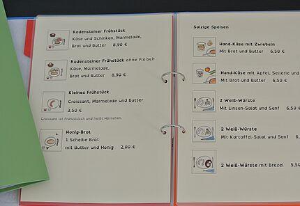 Café Rodenstein Karte Leichte Sprache, Foto: © Café Rodenstein