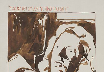 """Raymond Pettibon, """"You do as I say, or I'll send you back"""". The Statue of Liberty, 2007, Braune und rote Tusche auf Papier © Hessisches Landesmuseum Darmstadt, Sammlung MeyVArt"""