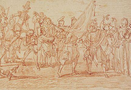 Jean Antoine Watteau Valenciennes 1684 – 1721 Nogent-sur Marne Gruppe von Komödianten, die den Auszug einer Soldatentruppe parodieren, um 1711 (?) Rötel, Foto: Wolfgang Fuhrmannek, HLMD