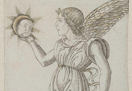 Unbekannt, Italien, (Ferrara?), Iliaco (Genius der Sonne) aus Spielkartenserie (früher: Tarockkarte), 1470-1480, Kupferstich