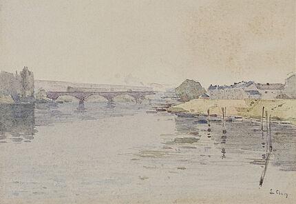 Jean-Eugène Clary, Pont de Pierre, Rouen, um 1900, Aquarell über Spuren von Bleistift, 190 x 273 mm
