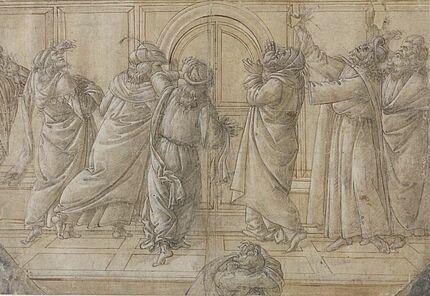 Sandro di Mariano di Filipepi, gen. Botticelli, Unterer Teil einer Herabkunft des Heiligen Geistes, 1495-1500, Federzeichnung, laviert, weiß gehöht über Vorzeichnung mit schwarzer Kreide