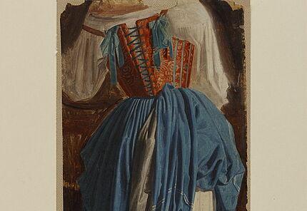 August Lucas, Gewandstudie einer Italienerin vom Rücken gesehen, 1829-1834 ©Hessisches Landesmuseum Darmstadt, Foto: Wolfgang Fuhrmannek