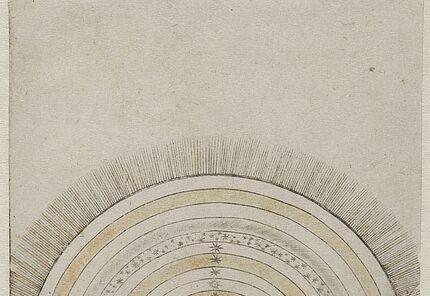 Unbekannt, Italien, (Ferrara?),  Prima Causa (Die erste Ursache) aus Spielkartenserie ( früher: Tarockkarte),  1470-1480, Kupferstich