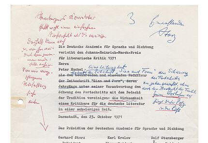 Entwurf des Urkundentextes für Peter Huchel 1971 (c) Deutsche Akademie