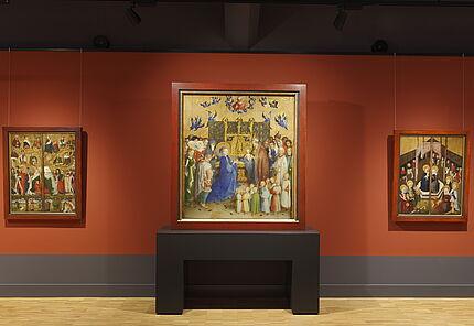 Raumansicht mit Stephan Lochner, Die Darbringung Christi im Tempel, Köln, 1447, Eichenholz