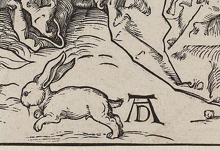 Albrecht Dürer Die heilige Familie mit den drei Hasen (Detail) Holzschnitt, um 1497 Foto: Wolfgang Fuhrmannek, HLMD