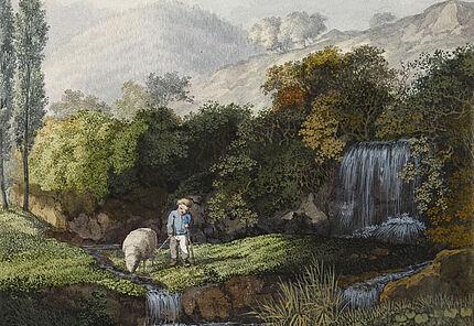 Carl Philipp Fohr, Die Wasserfälle am Steinwäldchen unweit Baden, 1814/1815, Aquarell mit Deckfarben und Bleistift, Foto: Wolfgang Fuhrmannek, HLMD