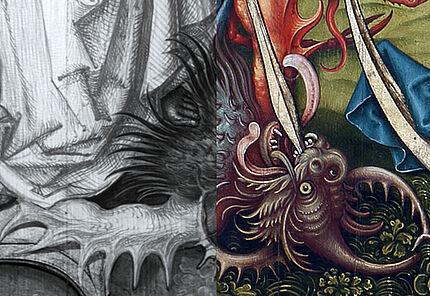 Fotomontage mit Infrarotreflektografie (OSIRIS A1) vom Drachen des hl. Erzengel Michael, Detail aus dem Nieder-Erlenbacher Altar, Nikolaus Schit, 1497, Foto: Wolfgang Fuhrmannek