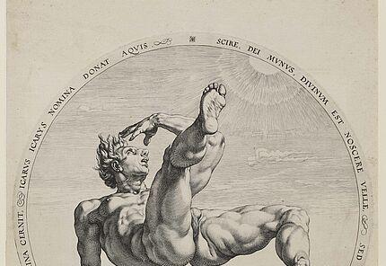Hendrik Goltzius, Sturz des Icarus, 1558 – 1617, Druckgrafik