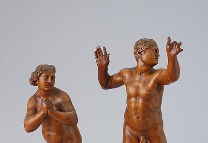 Leonard Kern, Die Vertreibung aus dem Paradies, um 1630/40, Buchsbaum / Adam H. 36 cm, Eva: H. 32, 7 cm