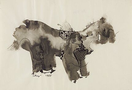 Leo Grewenig, Pony, 1955, Tuschzeichnung, 210 : 295 mm, Foto: Wolfgang Fuhrmannek, HLMD © Werke - Nachlass Leo Grewenig GbR