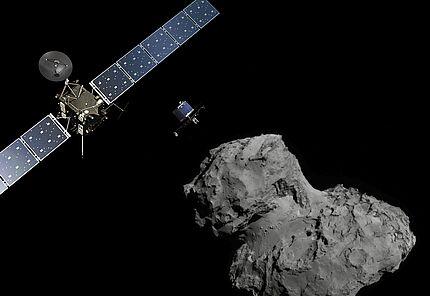 Rosetta at Comet (landscape) © ESA/ATG medialab; Comet image: ESA/Rosetta/Navcam