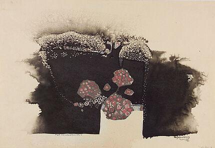 Leo Grewenig, Algen am schwarzen Stein, 1962, Tuschzeichnung, 10891 395 : 580 mm, Foto: Wolfgang Fuhrmannek, HLMD © Werke - Nachlass Leo Grewenig GbR