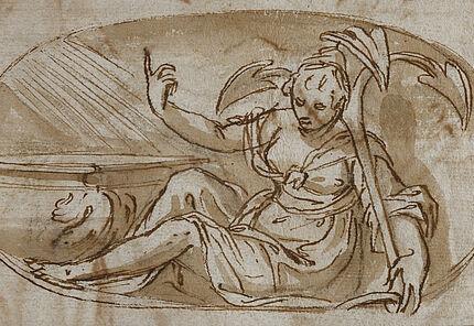 Paolo Farinati, Spes (Hoffnung), um 1580, Feder, braune Tusche, laviert, 122 x 208 mm
