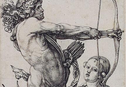 Albrecht Dürer, Apollo und Diana, um 1503/04, Kupferstich, 110 : 70 mm ©Hessisches Landesmuseum Darmstadt, Foto: Wolfgang Fuhrmannek