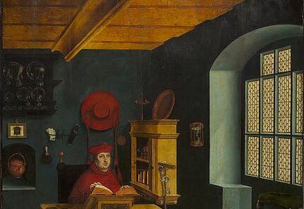 Lucas Cranach d. Ä., Porträt des Kardinals Albrecht von Brandenburg als heiliger Hieronymus im Gehäuse, 1525