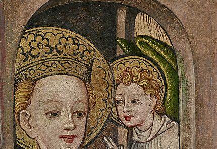 Katharina von Alexandrien, Hl. Katharina, Detail der Katharinentafeln, Oberrhein, um 1440, ©HLMD, Foto: Wolfgang Fuhrmannek, HLMD