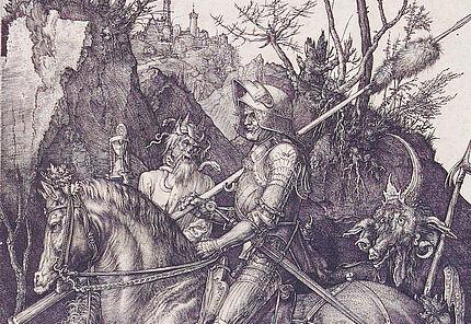 Albrecht Dürer Der Reiter (Ritter, Tod und Teufel), 1513 Kupferstich 244 : 188 mm ©Hessisches Landesmuseum Darmstadt, Foto: Wolfgang Fuhrmannek