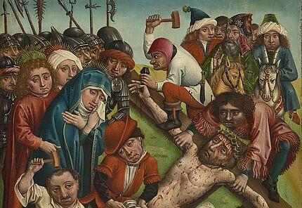 Andachtstafel mit Kreuzannagelung und Stifterin, Oberrhein, um 1480, Foto: Wolfgang Fuhrmannek, HLMD