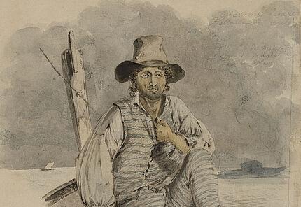 Carl Philipp Fohr, Ein Gondoliere, 1815, Auarell mit Bleistift, Foto: Wolfgang Fuhrmannek, HLMD