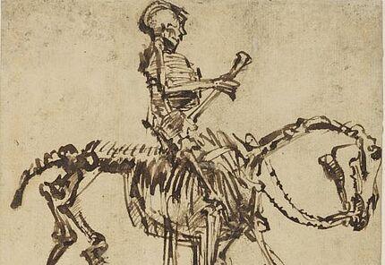 Rembrandt Harmensz. van Rijn, Skelettreiter, um 1655, Feder in Braun