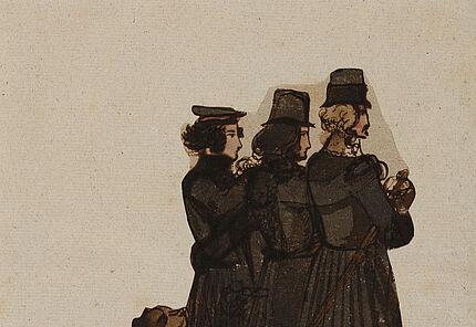 Carl Philipp Fohr, Der Künstler mit zwei Freunden und seinem Hund Grimsel, 1816, Feder und Aquarell, Foto: Wolfgang Fuhrmannek