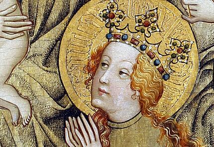 Barbara von Nikomedien, Hl. Barbara, Detail vom Ortenberger Altar, vmtl. Mainz, um 1420, ©HLMD, Foto: Wolfgang Fuhrmannek, HLMD
