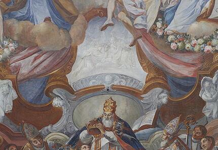 Jacob Carl Stauder, Deckengemälde mit einer Darstellung der Krönung Karls des Großen durch Papst Leo III. im Jahr 800 (Detail), Kaisersaal, Benediktinerabtei Ottobeuren, 1724