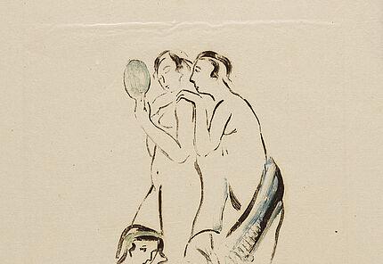 Eberhard Schlotter, Drei Akte, 1947, Monotypie auf dünnem Japanpapier, 475 x 305 mm