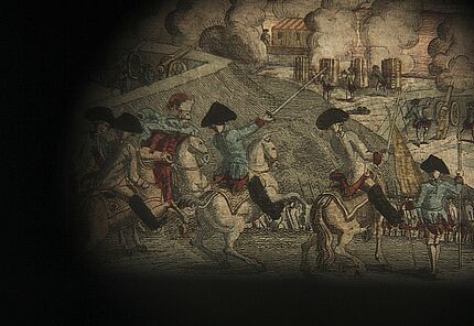 Die Belagerung von Belgrad und Übergabe der Stadt am 9. Oktober 1789. Zeichner, Stecher und Verleger unbekannt, ab 1789. Kupferstich, Radierung, koloriert, auf Karton gezogen. Detail, im Guckkasten illuminiert. Inv. Nr. Ph.C.60/105A/31. Foto: Traumwelt G