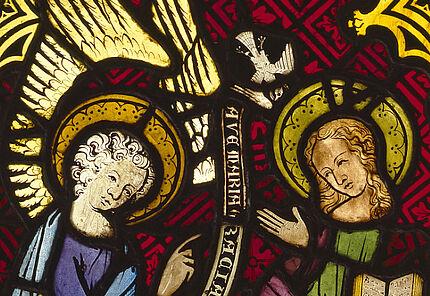 Heilige Erzengel Gabriel, Gabriel in Verkündigung, Köln, um 1320, ©HLMD, Foto: Wolfgang Fuhrmannek, HLMD