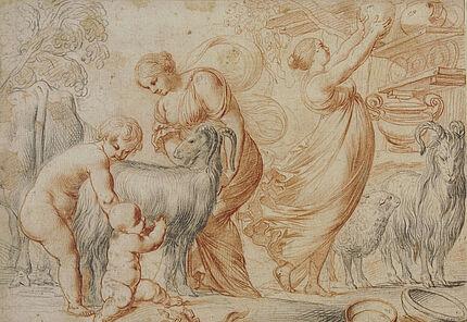 Pierre Brebiette, Jupiter als Kind und die Ziege Amalthea, Rötel, schwarze Kreide, Foto: Wolfgang Fuhrmannek, HLMD