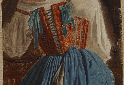 August Lucas: Gewandstudie einer Italienerin vom Rücken gesehen 1829-1834, Öl auf Papier, auf Leinwand aufgezogen, 371 : 162 mm, Unbezeichnet ©Hessisches Landesmuseum Darmstadt, Foto: Wolfgang Fuhrmannek
