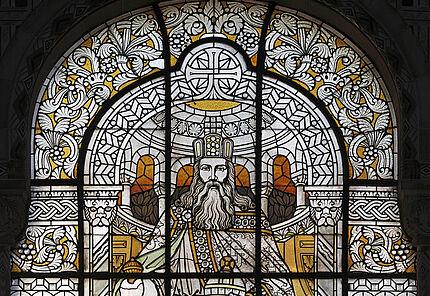 Glasfenster mit dem Bildnis Karls des Großen im Bahnhof von Metz in den Aufenthaltsräumen von Kaiser Wilhelm II. , 1905-1908
