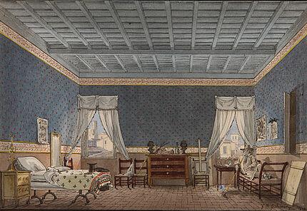 Friedrich Maximilian Hessemer: Des Künstlers Zimmer in Rom 1828, Feder und Aquarell, 189 : 291 mm ©Hessisches Landesmuseum Darmstadt, Foto: Wolfgang Fuhrmannek