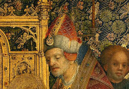 Simeon der Greis, Hl. Simeon mit Christuskind, Detail der Darbringung im Tempel, Stefan Lochner, Köln, 1447, ©HLMD, Foto: Wolfgang Fuhrmannek, HLMD