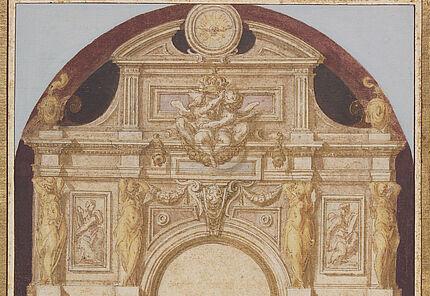 Martin Fréminet, Entwurf für den Aufriß des Hochaltars und die Architektur des Retabels der Chapelle de la Trinité in Fontainebleau, Foto Wolfgang Fuhrmannek, HLMD