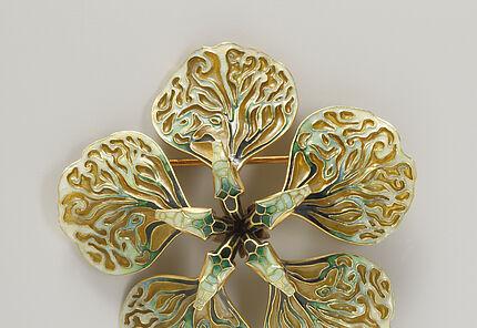 """René Jules Lalique, Brosche """"Schlangenblüte"""", um 1899, Gold, Email D. 7 cm"""