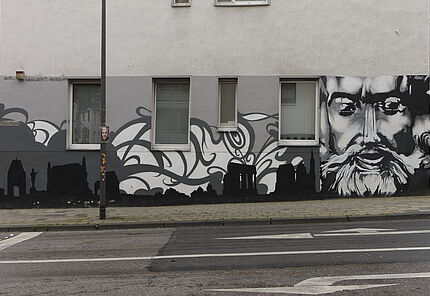 Karl der Große, 2012, Graffito in der Wilhelmstraße in Aachen Foto: Wolfgang Fuhrmannek, HLMD