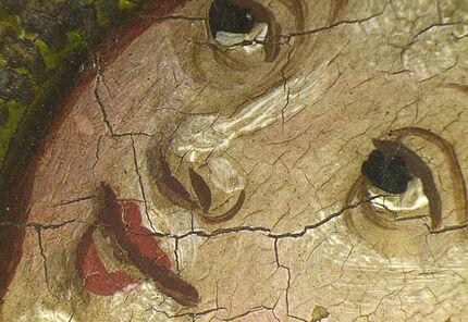 Gesicht des Christuskindes, Mikroskopaufnahme, Detail aus dem Ortenberger Altar, Meister des Ortenberger Altars, Werkstatt am Mittelrhein, vmtl. in Mainz, um 1420, Foto: Wolfgang Fuhrmannek