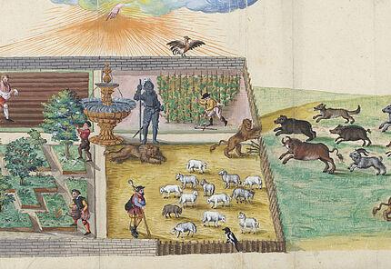 Thesaurus Picturarum, Das Einbrechen der wilden (lutherischen) Tiere in den Weinberg des Herrn, Aquarell, Bd28, Blatt132©ULB